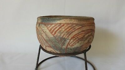 """Ban Chiang 500 BC Ancient Thailand Footless Terracotta Pottery Bowl w Stand 7"""""""