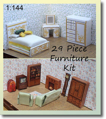 1:144 Scale Dollhouse - Wee Little Printed Furniture Kit With Extras!