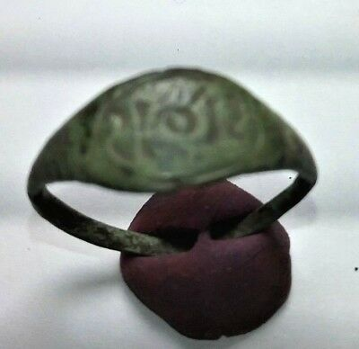 9th - 13th CENTURY ANCIENT KIEVAN RUS BRONZE RING WITH SCRIPT   AUTHENTIC RELIC