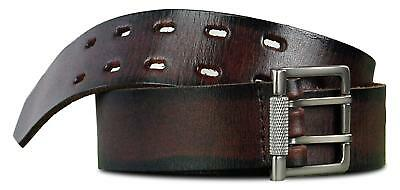 NEW Danbury Full Grain Leather Brown Two Prong Belt Black Accent NWT