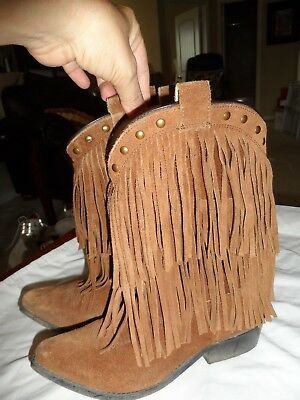 05b9f211d2dd Smoky Mountain Girls Wisteria Double Fringe Tan Western Boot Leather Sz 3.5