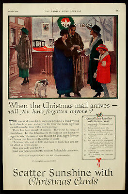 1919 CHRISTMAS CARDS Old-Time Post Office Antique PSA Vintage PRINT AD