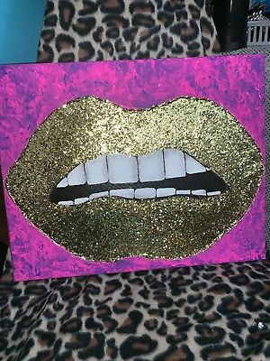 Led Battery Operated Lips Art Wall Canvas