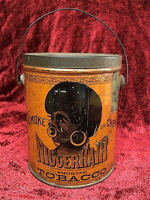 Old Antique Black Americana NIGGERHAIR Smoke Chew Smoking Tobacco Tin Metal Pail