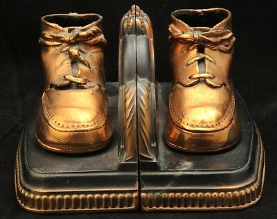Vintage Solid Brass Copper Plated Bronze Tone Laced Baby Shoe Book Ends