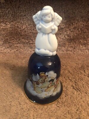 AVON Christmas 1992 Four Angels Floating on a Cloud Blue Porcelain Bell