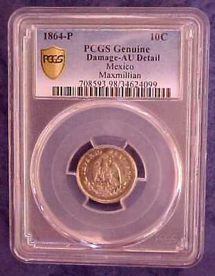 Rare Mexico Empire of Maximillian 1864 P Silver Mexican 10c Coin PCGS AU DETAILS