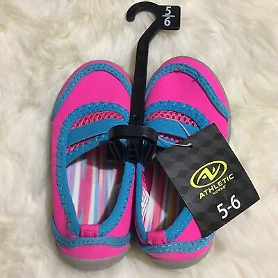 519c43e729ad2 Kids Girls Water Shoes Pink Blue Cushion Footbed NWT Size 5 6 Beach Pool  Summer