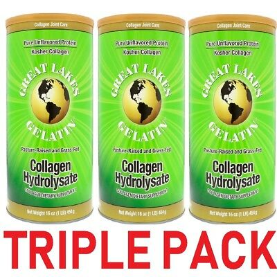 3x Great Lakes Gelatin Co Collagen Hydrolysate Collagen Joint Care Beef 454g NEW