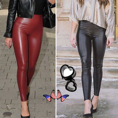 official price soft and light fresh styles WOMEN'S PU LEATHER Pants Stretchy Push Up Pencil Skinny Tight Leggings  Black US