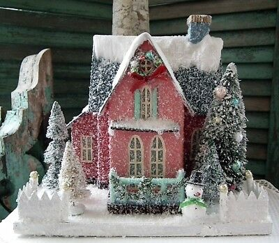 CODY FOSTER Large Putz ~HOLIDAY FINERY HOUSE~ w/ SNOWMAN ~ Brand New!