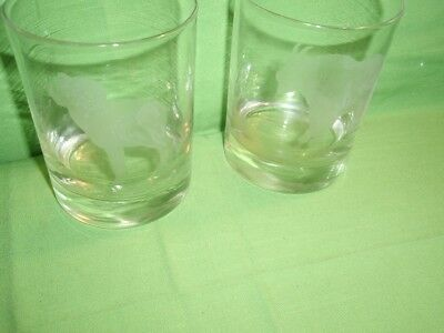 Pair Of Vintage Etched Highball Glasses One Bighorn Sheep & Mountain Goat