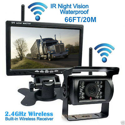 """Wireless IR Rear View Backup Camera Night Vision +7"""" Monitor for RV Truck Bus"""