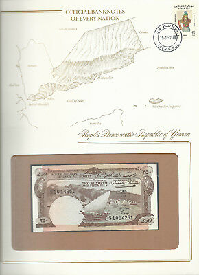 Banknotes of Every Nation Yemen PDR 1965 250 Fils P1b UNC sign 2