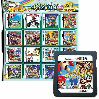 482 in 1 Video Game Cartridge Mario Multicart for NS DS NDS NDSL NDSi 3DS 2DS XL