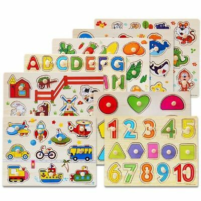 Baby Kids Wooden Animal Letter Puzzle Educational Toys Jigsaw Early Learning Toy