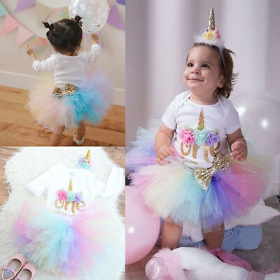 Newborn Baby Girl 1st Birthday Unicorn Romper Rainbow Tulle Skirt 3PCS Outfits