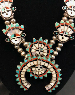Early Masterpiece Zuni attr. Mary Kallestewa Sun Face Squash Blossom Necklace