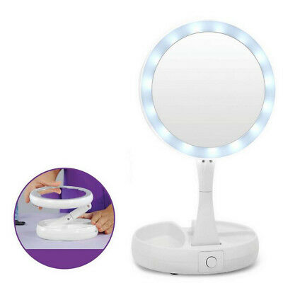 Fold LED Mirror Cosmetic Bathroom Shaving Lighted Double Sided Vanity Makeup AU