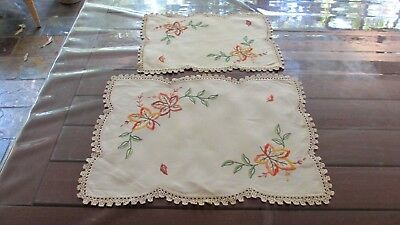 2x Vintage  Hand Embroidered Doileys  47cms x 35 cms  & 38 x 27 cms Lace Trim
