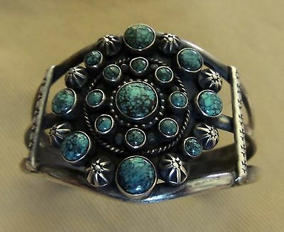 Best Navajo Marie Smith Bracelet Beautiful Natural Turquoise Hand Made & Stamped