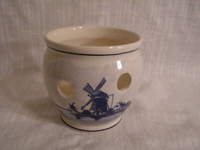 Vintage Delfts Holland Hand Painted Blue & White Windmill Crocus Planter