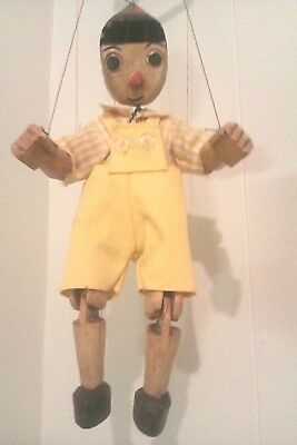 Vintage hand carved & painted PINOCCHIO MARIONETTE PUPPET.great condition