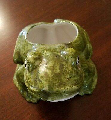Mid-Century Modern Pottery Green & White Frog Planter