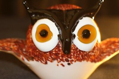 Murano Italian Art Glass - Sculpture Figure - OWL with BIG EYES and SPREAD WINGS