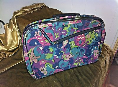 Vintage 60s 70s Mid Century Modern Groovy Flower Power Mod Psychedelic Suitcase