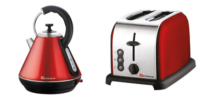 1.8L Electric Cordless Kettle 2 Slice Wide Toaster Matching Kitchen Set Red
