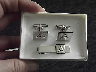 Masonic Shriner Silver Tie Clasp Tack & Cufflinks With Sun & G Symbol   (C3