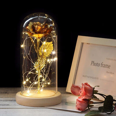 Beauty And The Beast 24K Gold Enchanted Rose Dip Glass LED Light Wedding Decor