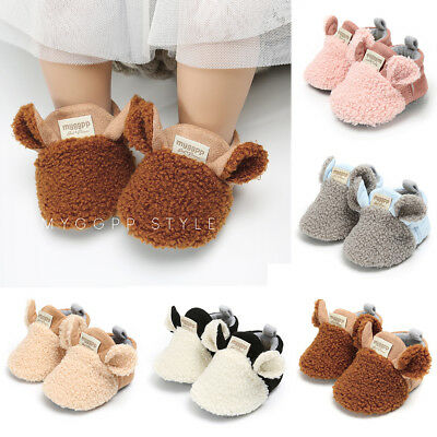 Toddler Baby Boy Girl Warm Snow Boots Infant Soft Sole Winter Slipper Crib Shoes