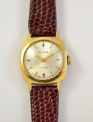 Vintage Russian Soviet Ussr Ladies Swristwatch Slava Gold Plate