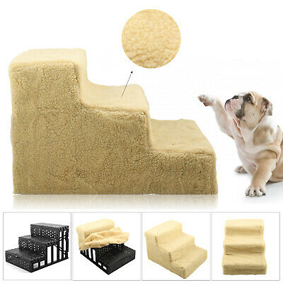 Plush Soft Portable Dog Puppy Ladder Doggy Pet Steps Stairs Ramp Washable Cover