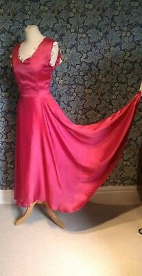 Vintage 1940s Original Art Deco Dress Gown Satin Pink Utility ww2 Asymmetric Hem