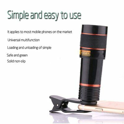 Clip-on 12x Optical Zoom HD Telescope Camera Lens For Universal Phone lotDP