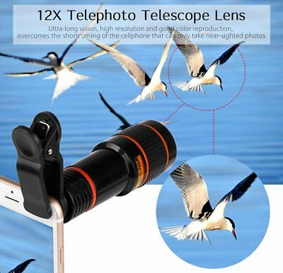 Clip-on12x Optical Zoom HD Telescope Camera Lens for Universal Mobile lotDP