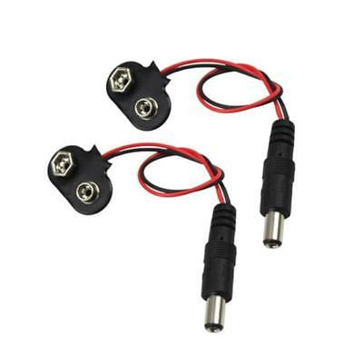 2X Black 9V Battery Snap With Power Cable Holder Clip Cable Lead Connector