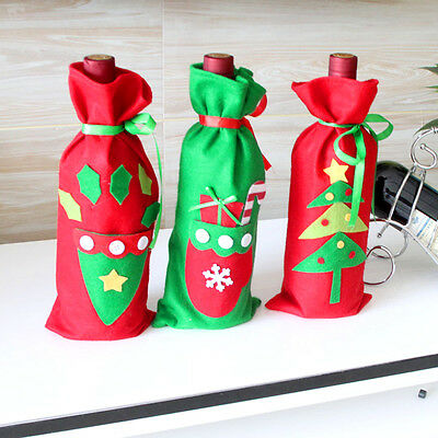 Xmas .Tree Christmas Wine Bottle Bag Cover XMAS Gift Table Decors Ho Gift-,