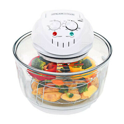 Large 17L Kitchen Premium White Halogen Convection Oven Cooker + Extension Rings