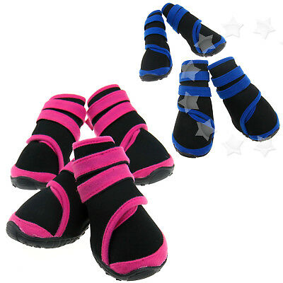 4PCS Anti Slip Protective Rain Boots Pet Dog Waterproof Shoes Pink/Black S/M/L
