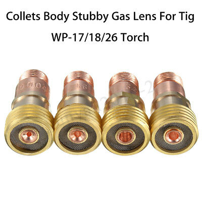 Brass Collets Body Stubby Gas Lens Connector w/ Mesh For Tig WP-17/18/26