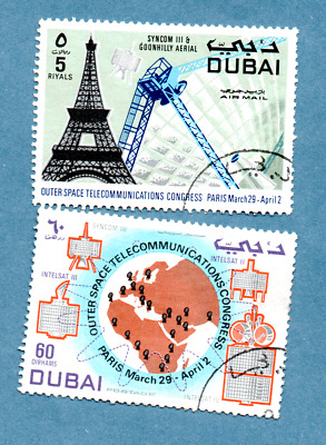 DUBAI stamps 1971 Outer Space Telecommunications Congress, Paris. 2 stamps