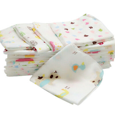 10Pcs Baby Newborn Gauze Muslin Square 100% Cotton Bath Wash Handkerchief Towels