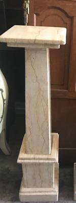Antique French Smoky Cream Marble Stand/pedestal On A Double Stepped Base