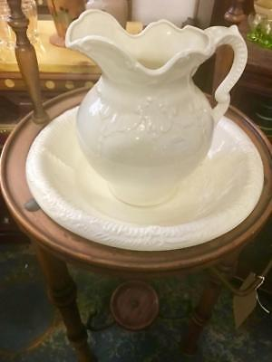Antique / Vintage English White Ceramic Wash Basin And Picher..