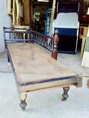 ANTIQUE MAHOGANY CHAISE , DAY BED , MINERS LOUNGE ON CASTORS. Circa 1900