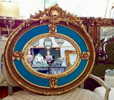Ornate French Louis Gold Bevelled Wall Mirror With Turquoise Velvet Surround